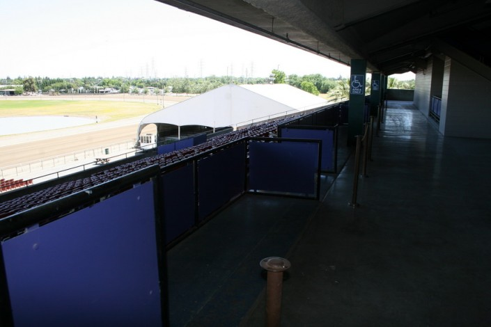 Sacramento Mile View from behind Lower Grandstand seats (disclaimer: the tent covering is removed prior to race)